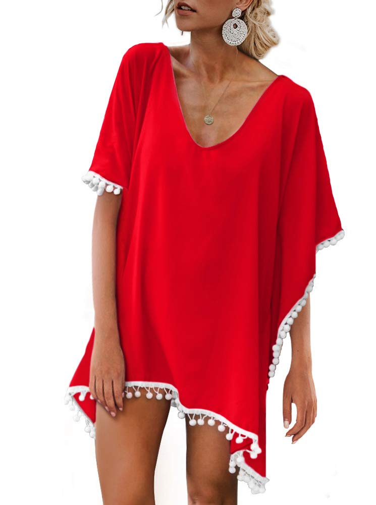 Adreamly Women's Pom Pom Trim Kaftan Chiffon Swimwear Beach Cover up ADREAMLYZS002-HS