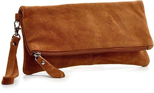CNTMP - bolso para señora, clutches, clutch, bolsos de mano, bolsos, bolsos de fiesta, bolsos de tendencia, gamuza, ante, bolso de cuero (grande, cognac), 32x17x2,5cm (l x an x a)