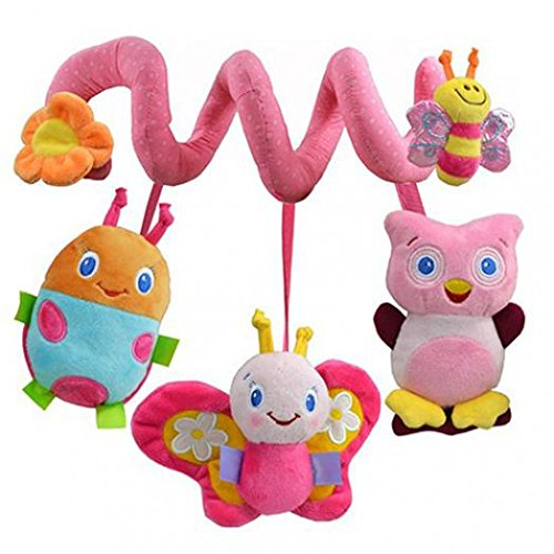 Gilroy Baby Hanging Rattle Toys Soft Plush Butterfly Bee Owl Shape Activity Crib Stroller Toys for Baby Toddlers Baby Girls