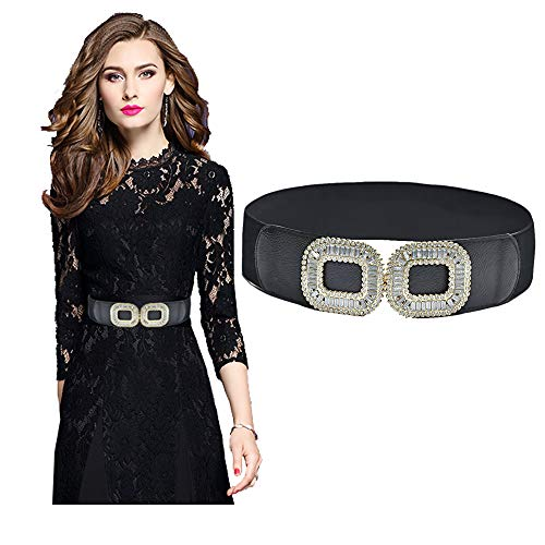 Black Rhinestone Buckle - VITORIA'S GIFT Fashion Women Belt Solid Round Shape Buckle Waist Belt Casual Leather Belts (Rhinestone-buckle-black)