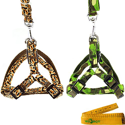 Wiz BBQT Fashionable Adjustable Dog Cat Pet Harness and Leash Set for Dogs Cats Pets (Green Camouflage+Coffee Leopard Print) ()