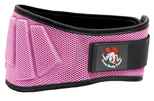 Fully Adjustable Weightlifting Belt | Thick Lower Back & Core Support For Men & Women | Essential For Bodybuilding, Powerlifting, Olympic Lifting, Crossfit, Deadlifts & Squats(Pink, (Iron Body)