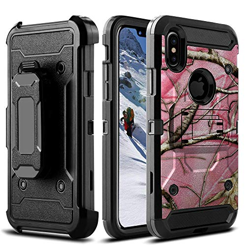 Factory Triple Tree - Holster MINITURTLE Case Compatible with Apple iPhone XR (2018) Built-in Stand and Bonus Rotating Belt-Clip [3-Part Protection][Max Armor Tough Case] - Pink Tree Camo