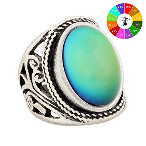 Handmade Unique Pattern Antique Sterling Silver Plating Oval Stone Color Change Mood Ring MJ-RS019 (8) (Ring Silver Stone Color Sterling)
