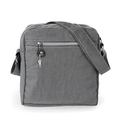 Umhängetasche grau Nylon Crossover Schultertasche Bag Street OTJ218K