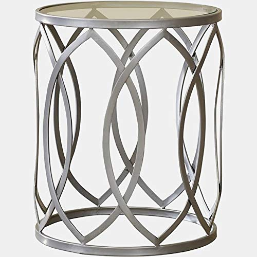 Iron End Table with Circular Glass Top - End Table with Openwork Trellis Design - Gray