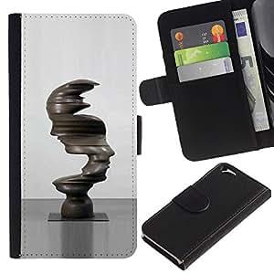 Arte Caras Hierro Estatuas Figuras- la tarjeta de Crédito Slots PU Funda de cuero Monedero caso cubierta de piel Para Apple (4.7 inches!!!) iPhone 6 / 6S
