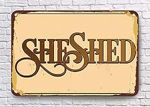 VictorJoan Ella cobertizo signos, estilo vintage con texto en inglés de pared Shed señal,