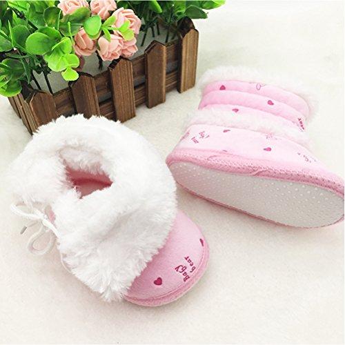 Zhhlinyuan Newborn Anti-skid Soft Bottom Boots Bebé Girl Snow Crib Shoes Booties Pink