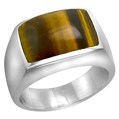 Sterling Silver Tiger Eye Ring for Men Rectangular Domed Solid Back Handmade, size 9
