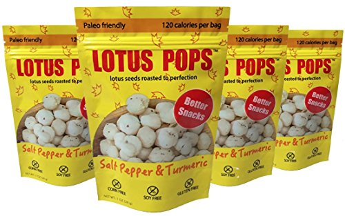 Healthy Snacks - Better than Popcorn - All Natural Gluten Free Corn Free Potato Free Soy Free Baked Low Calories Snacks - Zero Sugar Paleo Friendly - Salt Pepper And Turmeric - (1oz x 4 Pack)