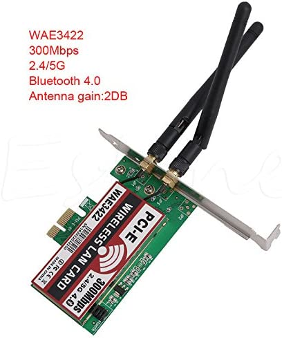 Network Card, Bluetooth 4.0 Dual-Band 2G/5G 300Mbps PCI-E PCI Express WAE3422 Network Card Wlan WiFi Adapter (1Piece)