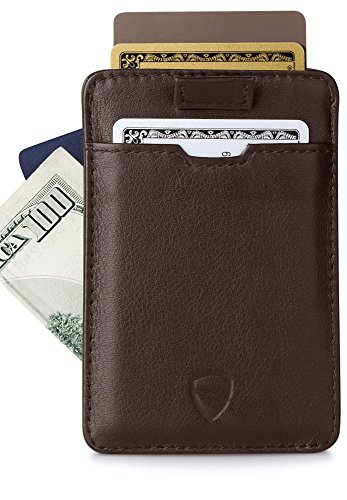 CHELSEA Kreditkartenetui mit RFID Shutz von Vaultskin. Leder Geldbörse und Kreditkartenhülle, sicherer NFC Blocker, Schutzhülle für bis zu 14 Karten (Braun)