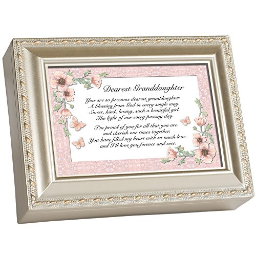 Cottage Garden Dearest Granddaughter Champagne Silver Traditional Music Box Plays Light Up My ()