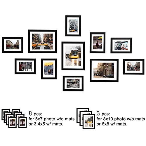 (WOOD MEETS COLOR 11 Pcs Picture Frames Set, Wall Gallery Collage Frames with Hanging Template, Real Glass Window and Photo Mats, 3-8x10 and 8-5x7 Frames,Black)
