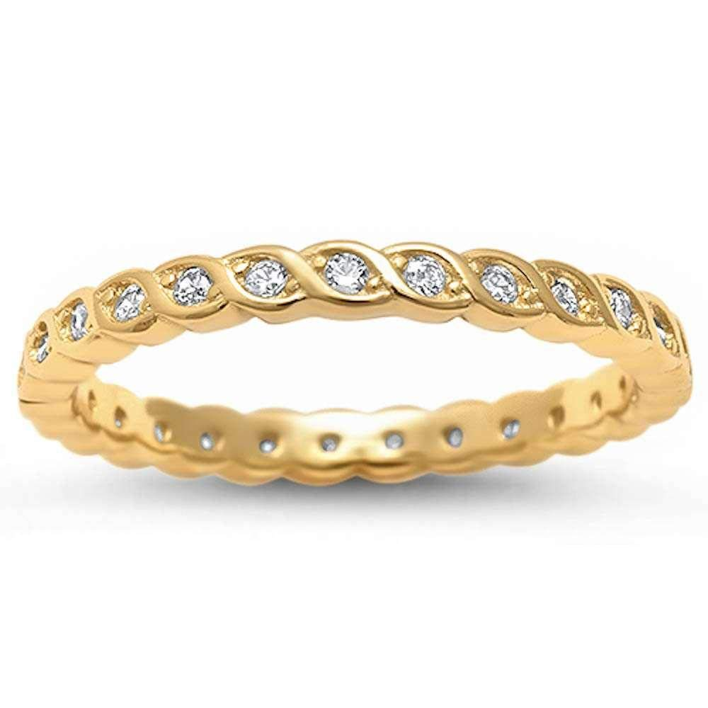 Clear Cubic Zirconia Twisted Eternity Band Ring Gold-Tone Plated Sterling Silver Size 7