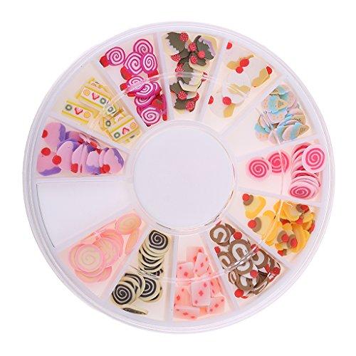 Baosity 12 de Caja de Adornos de Uñas 3D de Arte de Acrílico para Scrapbooking Costura Material Decorativo