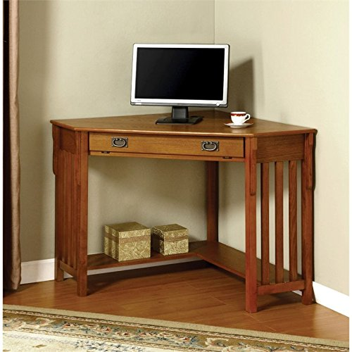 Furniture of America Athosia Mission Style Corner Computer Desk, Medium Oak Finish -