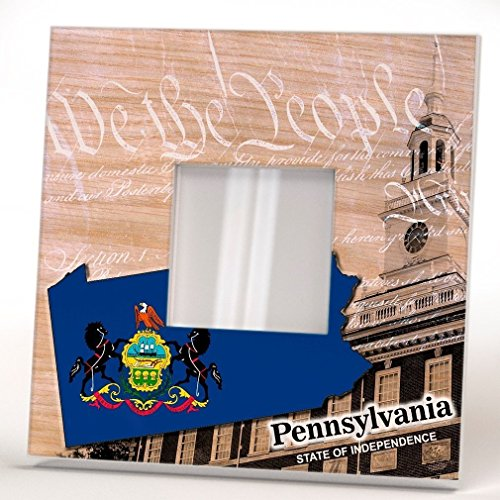 Pennsylvania State Wall Framed Mirror with Printed Decor We People Art Gift Home Room Seal (Penn State Wall Mirror)