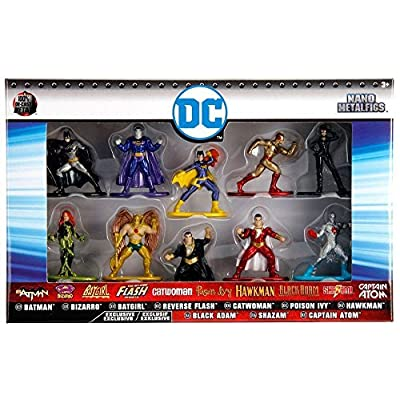 Jada DC Nano Metalfigs Batman, Bizarro, Batgirl, Flash, Catwoman Poisin Ivy, Hawkman, Black Adam, Shazam, Captain Atom: Toys & Games