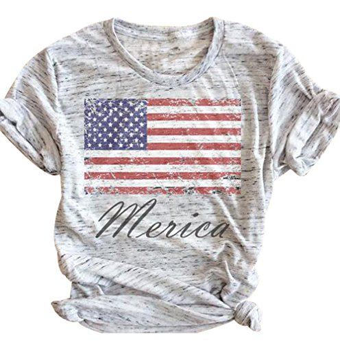 FAYALEQ Women's American Flag Baseball Printed T-Shirt O-Neck Causal Tee Tops Blouse Size L (Light Gray) (Shirt Flag Star)