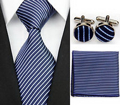 Dan Smatree Business Navy Blue Striped Necktie Men's Tie Cufflinks Hanky Handkerchief Set JV854
