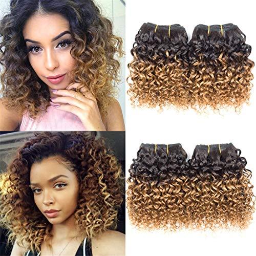 Ameli Curly Hair 4 Bundles Short Human Hair Weave Bundles Brazilian Ombre Kinky Curly Virgin Human Hair Extensions 8 inch 50g/Bundle 1B/30#