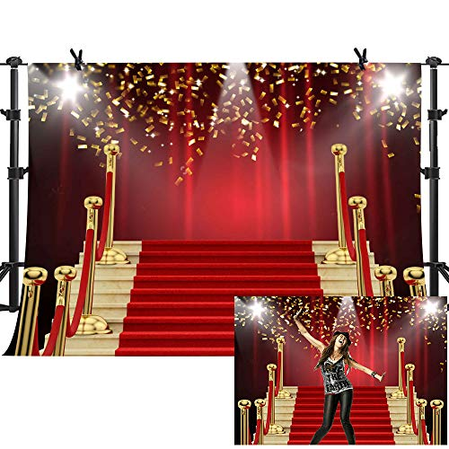 MME 10X7Ft Red Curtain Background Red Carpet Stairs Props Vinyl Photography Video Backdrop NANME999