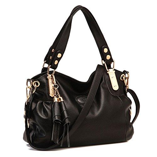 Voudi Genuine Leather Handbags for Women Top Handle Bag Hobo Handbag Tote Shoulder Bag Designer Purse Ladies Cross Body Bag (Black)