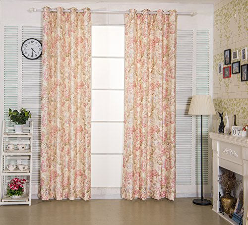 Cheap IYUEGO Country Fancy Floral Arabesque Jacquard Energy Grommet Top Curtain Draperies With Multi Size Custom 50″ W x 102″ L (One Panel)