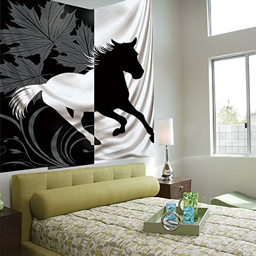 (Tapestry Wall Hanging 3D Printing Tree Tapestry Wall TapestryLiving Room Bedroom,Horse Decor,Silhouette of Mustang in Monochrome Abstract Framework Maple Leaves Sprigs Decorative,Black and White)