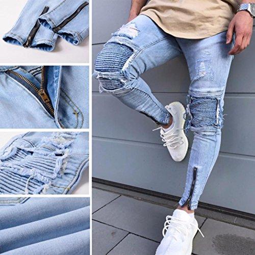 con Amlaiworld vaqueros jeans deportivos Azul slim de bolsillos elásticos moto Para pantalones skinny Pantalones de hombres de fit hombres desgarrados 414rzwqn