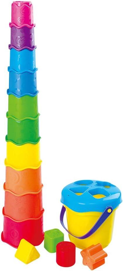 Playgo - Cubo playa con 4 figuras & 10 cubos de colores (ColorBaby 44559)