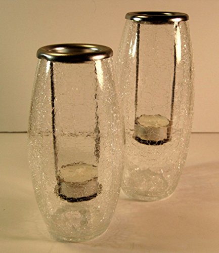 Crackle Glass Tealight Candle Holders, Set of Two, 8 and 7 Inches