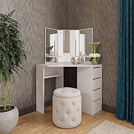 Victory Corner Makeup Vanity Table White Makeup Desk With Three Fold Mirrors And 4 Drawers Bedroom Dressing Table Makeup Table Kitchen Dining