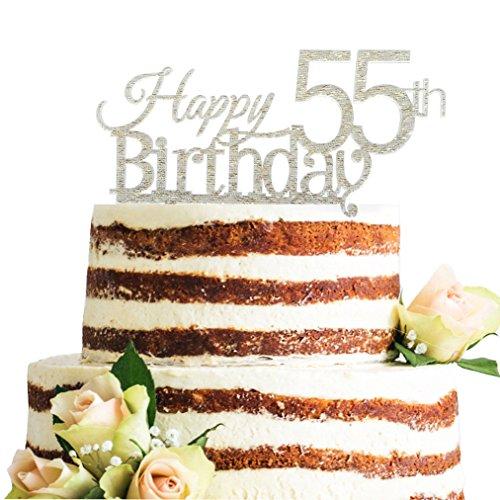 Glitter Silver Acrylic Happy 55th Birthday Cake Topper Decor