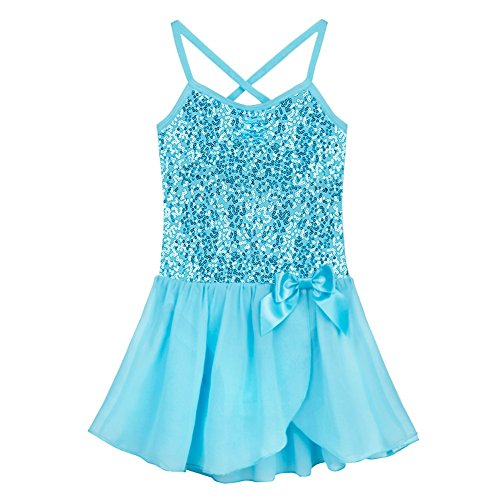 FEESHOW Girls Sequined Bow Leotard Dress Ballet Tutu Skirt Dance Costumes Blue 3-4 ()
