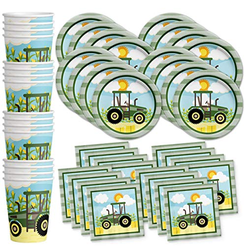 Farm Tractor Time Birthday Party Supplies Set Plates Napkins Cups Kit for 16 -