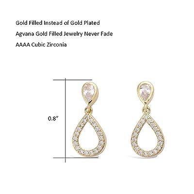 Dainty Chain Rose Gold CZ Earrings Cubic Zirconia Teardrop Dangle Drop Stud Earrings