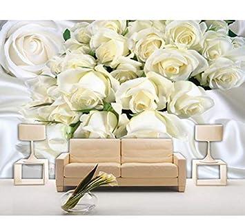 Mkkwp Benutzerdefinierte Große Fresko 3D Tapeten Weiße Seide Rosen ...