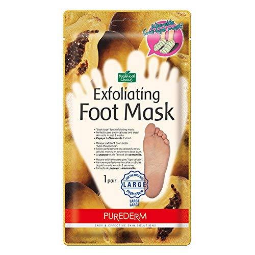 Exfoliating Foot Mask With Papaya & Chamomile Extract, Lemon & Orange & Apple Extract for Baby-Like Leg Skin, Foot Size Large (41-48), 2 Pair, PUREDERM