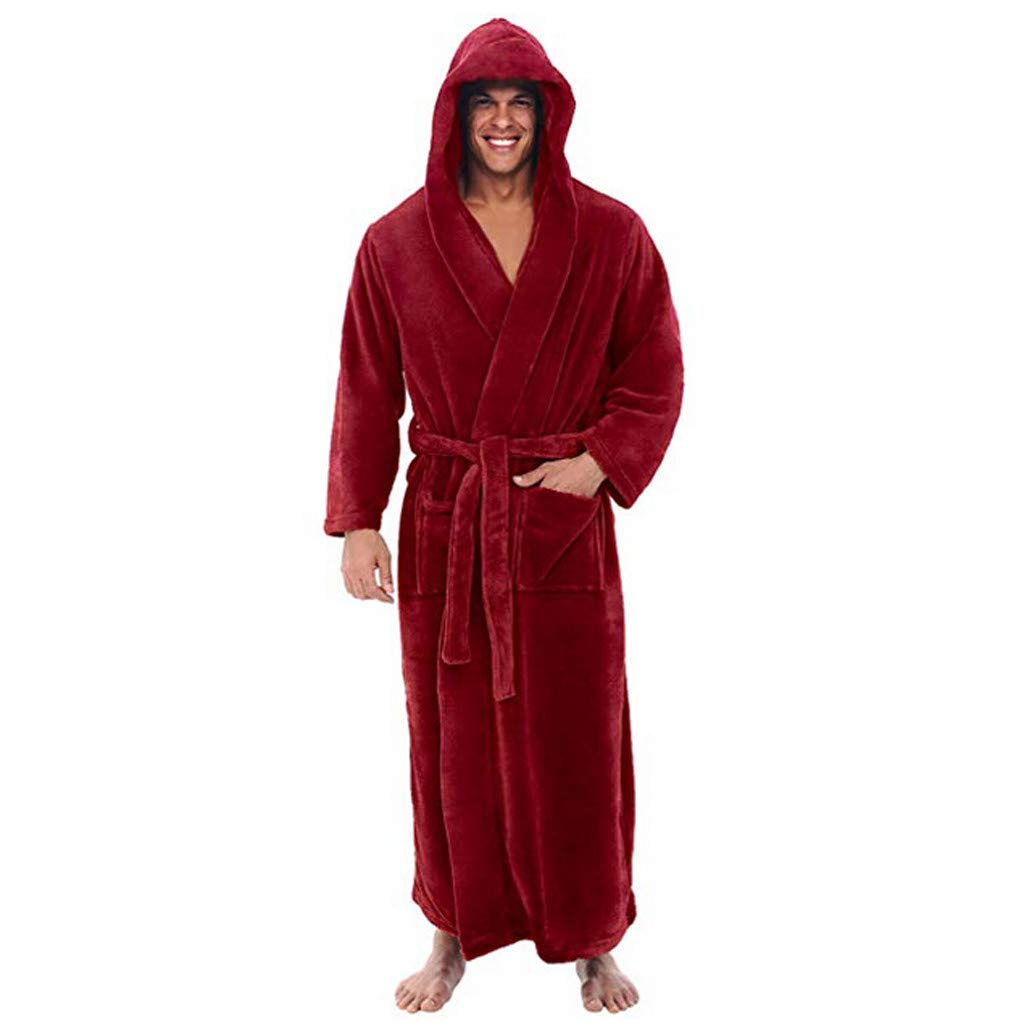 DEATU Sale Men's Bathrobe Big and Tall Plus Size Winter Lengthened Warm Plush Shawl Home Clothes Long Sleeved Robe Coat(Red,US Size L = Tag XL)