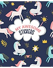 My Awesome Stickers: Blank Sticker Book for Collecting Stickers | Reusable Sticker Collection Album for Kids - Unicorns Cover