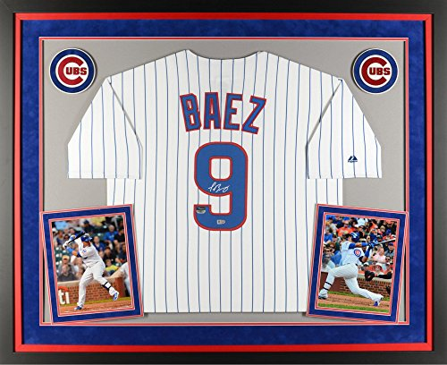 Javier Baez Chicago Cubs Deluxe Framed Autographed Majestic Replica White Jersey - Fanatics Authentic Certified