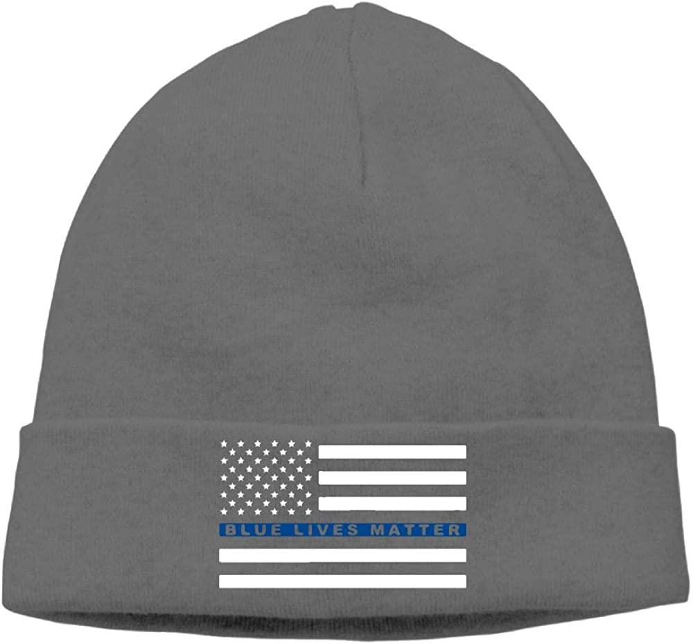 09/&JGJG Blue Lives Matter Thin Blue Line Flag Unisex Soft Beanie Hats Warm Knit Ski Skull Cap