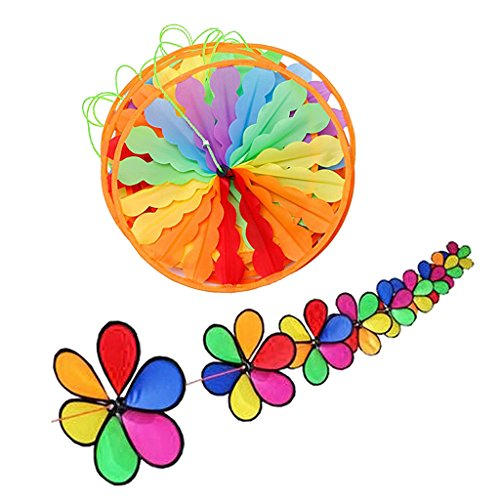 Dovewill 16 Pieces Rainbow Flower Whirligig Wheels 10m Windmill String Garden Outdoor Party Decor by Dovewill