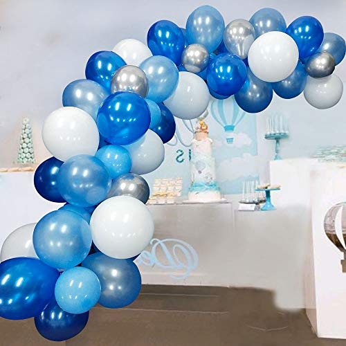 Blue Balloons Garland Kit 117 Pcs Navy Sky Blue White and Silver Metallic Balloons for Parties with 16Ft Balloon Strip Glue Dots for Baby Shower Wedding Birthday Party