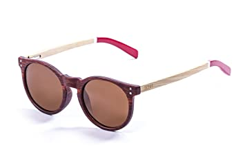 Ocean Sunglasses Lizard Lunettes de Soleil Mixte Adulte, Bamboo Brown Frame/Wood Natural White/Red Arms/Brown Lens