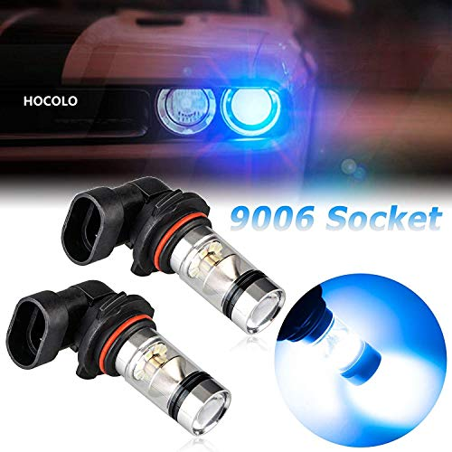HOCOLO 9006 HB4 100W Cree LED Fog Light Lamp Bulbs for DRL Fog Driving Lights 8000K Ice Blue High Power LED Bulbs Car Vehicle Lighting Accessories (Set of 2) (9006/HB4, Light Blue)