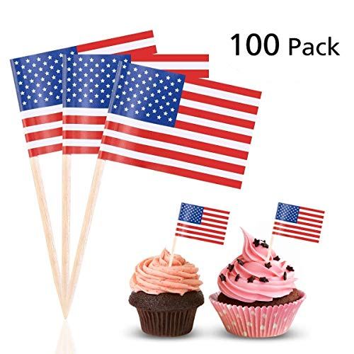 LUOEM American Flag Picks US Flag Toothpicks Cocktail Sticks Party Accessory Birthday Wedding Party Cake Decorations,Pack of 100 -